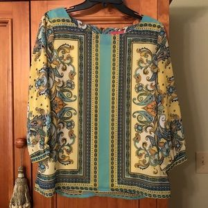 Sunny Leigh Pale Yellow & Sea Green Blouse L
